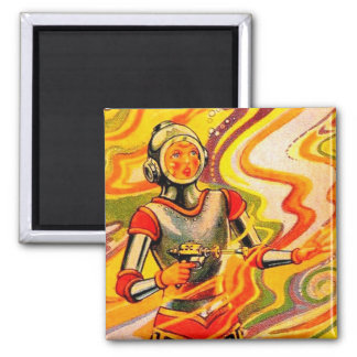 Retro Vintage Sci Fi Kitsch Space Girl Magnet