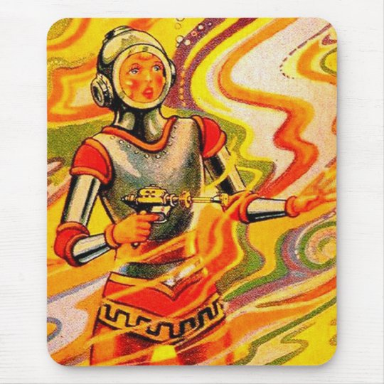 Retro Vintage Sci Fi Kitsch Space Girl Mouse Pad
