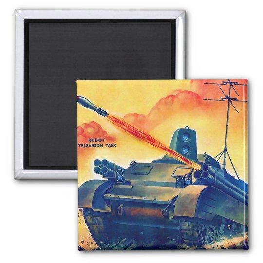 Retro Vintage Sci Fi Military TV Remote Tank Magnet