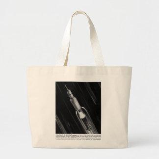 Retro Vintage Sci Fi NASA 'Saturn Rocket' Large Tote Bag