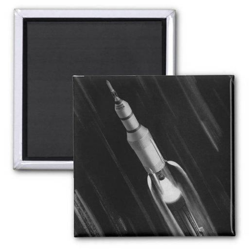 Retro Vintage Sci Fi NASA 'Saturn Rocket' Refrigerator Magnets