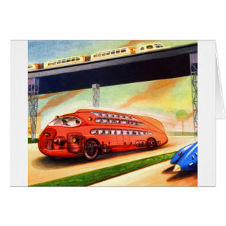 Retro Vintage Sci Fi Nazi German Bus of Future Cards