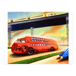 Retro Vintage Sci Fi Nazi German Bus of Future Post Cards