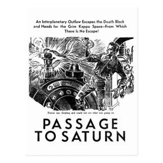 Retro Vintage Sci Fi Passage To Saturn Story Art Postcards
