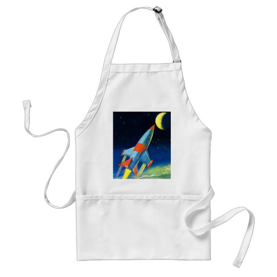 Retro Vintage Sci Fi 'Space Rocket to the Moon' Adult Apron
