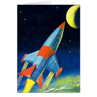 Retro Vintage Sci Fi 'Space Rocket to the Moon' Greeting Cards