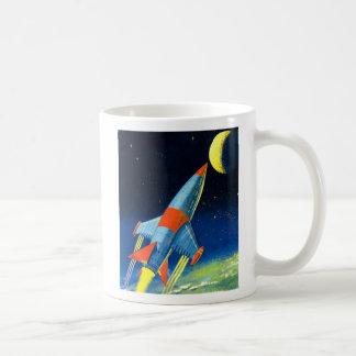 Retro Vintage Sci Fi 'Space Rocket to the Moon' Coffee Mug