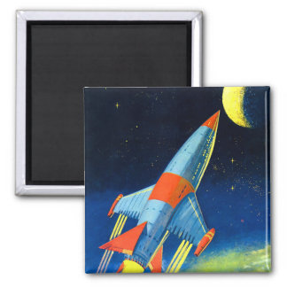 Retro Vintage Sci Fi 'Space Rocket to the Moon' 2 Inch Square Magnet