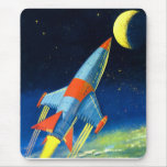 Retro Vintage Sci Fi 'Space Rocket to the Moon' Mouse Pad