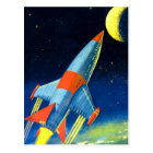 Retro Vintage Sci Fi 'Space Rocket to the Moon' Postcard