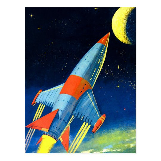 Rockets To The Moon: Retro Vintage Sci Fi 'Space Rocket To The Moon' Postcard