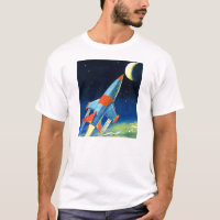Retro Vintage Sci Fi 'Space Rocket to the Moon' T-Shirt