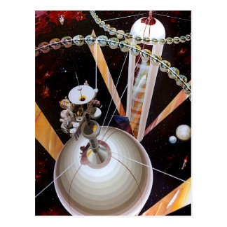 Retro Vintage Sci Fi Space Station Concept Post Card