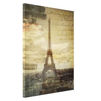 retro vintage scripts paris Effiel Tower fashion Stretched Canvas Print