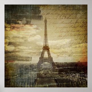 retro vintage scripts paris Effiel Tower fashion Poster