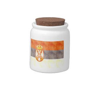 Retro Vintage Serbia Flag Candy Jars
