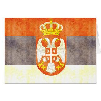 Retro Vintage Serbia Flag Card