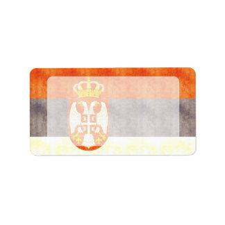 Retro Vintage Serbia Flag Custom Address Labels