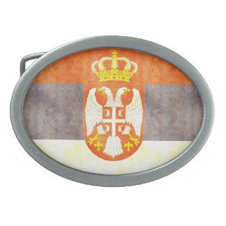 Retro Vintage Serbia Flag Oval Belt Buckle