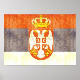 Retro Vintage Serbia Flag Print
