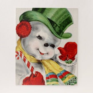Retro Vintage snowman Christmas festive puzzle