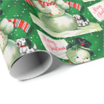 """Retro Vintage snowman Holiday party wrap Wrapping Paper<br><div class=""""desc"""">design by www.etsy.com/Shop/VanityFlairDesign</div>"""