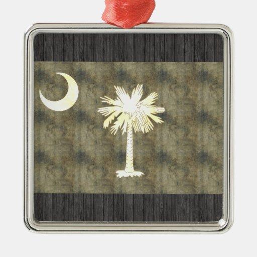 Retro Vintage South Carolina Flag Square Metal Christmas Ornament