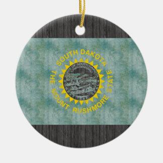 Retro Vintage South Dakota Flag Christmas Tree Ornaments