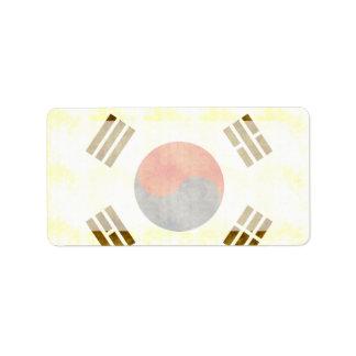 Retro Vintage South Korea Flag Label