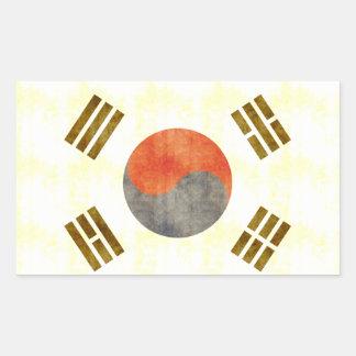 Retro Vintage South Korea Flag Rectangle Sticker