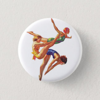 Retro Vintage Sports Diving Swimmers Diving Art Button