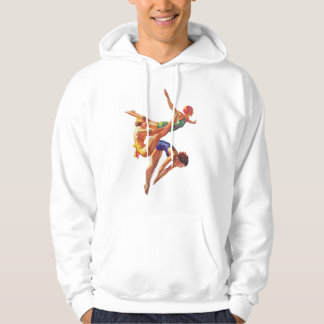 Retro Vintage Sports Diving Swimmers Diving Art Hooded Pullover
