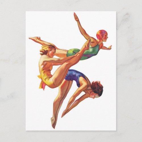 Retro Vintage Sports Diving Swimmers Diving Art Postcard
