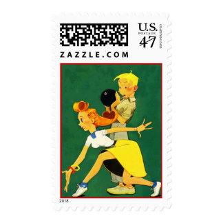 Retro Vintage Style Bowling Couple Postage Stamps