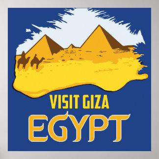 Retro vintage style visit Egypt pyramids travel ad Poster
