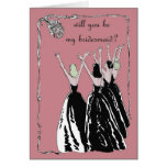 retro vintage style will you be my bridesmaid greeting cards
