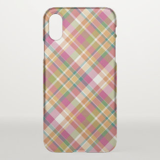 Retro Vintage Summer Plaid Tartan Squares Pattern iPhone X Case