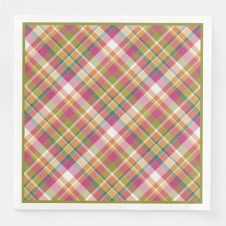 Retro Vintage Summer Plaid Tartan Squares Pattern Paper Dinner Napkin