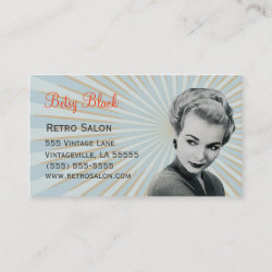 Retro Vintage Sunburst Hair Stylist Business Card