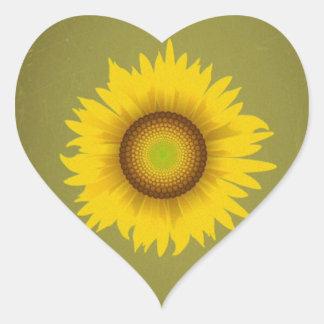 Retro Vintage Sunflower Design Heart Stickers