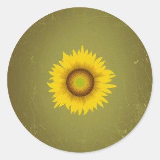 Retro Vintage Sunflower Design Round Sticker
