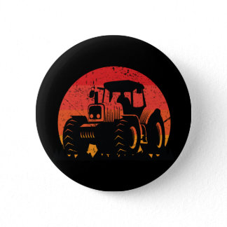 Retro Vintage Sunset Tractor Farmer Life Button