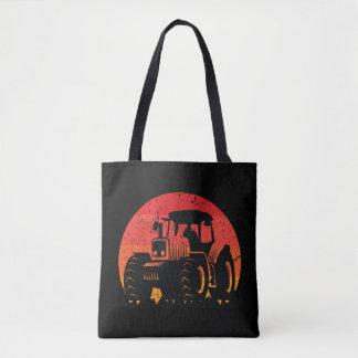 Retro Vintage Sunset Tractor Farmer Life Tote Bag