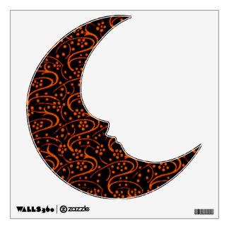 Retro Vintage Swirl Floral Orange and Black Wall Sticker