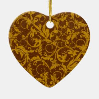 Retro Vintage Swirls Brown Heart Ornament