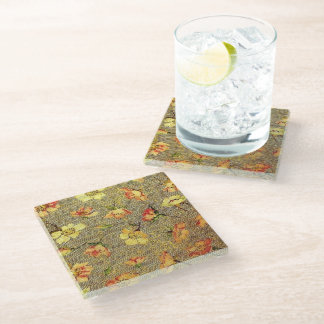 Retro Vintage Swirls Floral Coral Peach Yellow Glass Coaster