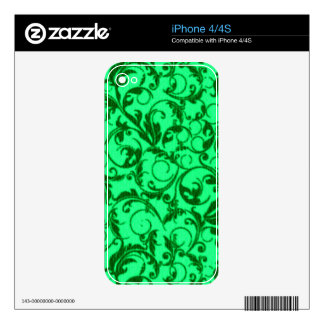 Retro Vintage Swirls Green Skin For The iPhone 4S
