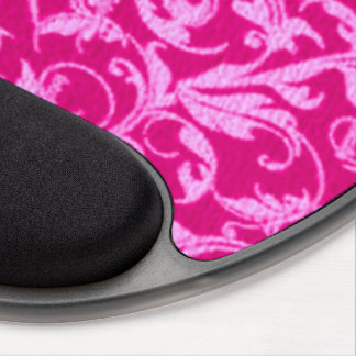 Retro Vintage Swirls Hot Pink Gel Mouse Pad