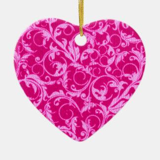 Retro Vintage Swirls Hot Pink Heart Ornament