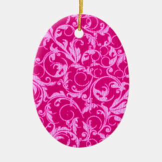 Retro Vintage Swirls Hot Pink Oval Ornament